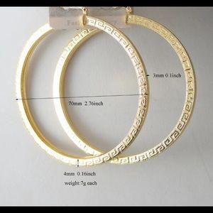 70mm Greek Pattern Earrings Hoops Gold Tone BNIB
